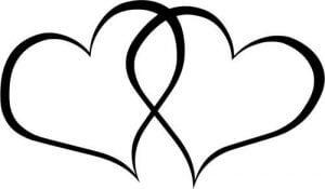 Hearts 2 black & white Clip